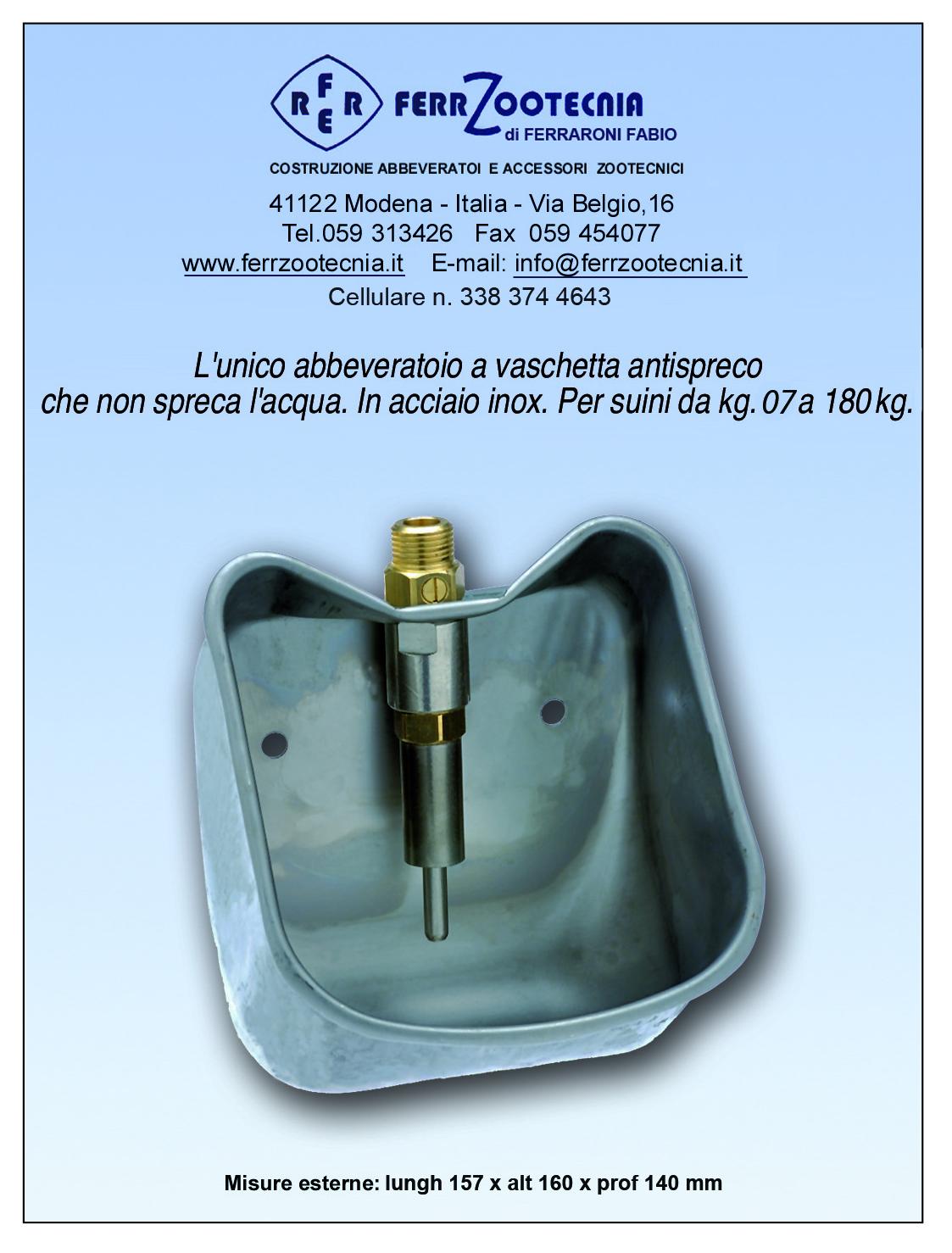 Abbeveratoio inox a vaschetta antispreco per suini da kg. 07 fino kg. 180 – codice 139